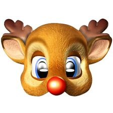 RUDOLPH RED NOSED CHRISTMAS REINDEER CHILDRENS MASK FACE CARD~PARTY~FREE PP UK