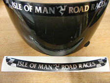 Isla De Man Carreras De Carretera-TT Visera DECAL STICKER-NEGRO + Chrome