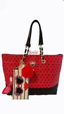 Betsey Johnson RED/BLACK SPOT TOTE /SUNGLASS CASE  Shoulder bag