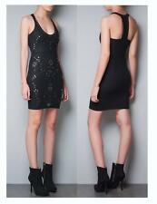 ZARA BLACK STUDDED BODYCON DRESS SIZE M MEDIUM BNWT
