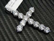 Sterling Silver Cross Pendant Charm White Gold Finish Simulated Diamond
