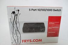 Fry's 5-Port Gigabit Ethernet Switch 1000 Mbps Auto-MDI-X 802.3 FR-5PTGSW NEW