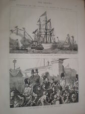 Prince of Wales at Portsmouth HMS Duke of Wellington salutes 1876 prints ref V