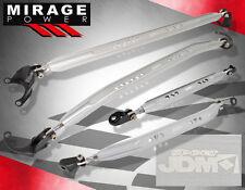 Jdm Sport Front Rear Upper Lower Strut Bar Silver 02-06 Mitsubishi Lancer Es Ls