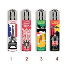 ★1 ACCENDINO CLIPPER A GAS LARGE CITIES 3 RICARICABILE REGULAR VARI COLORI★