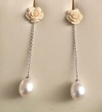 NEW IN BOX Italian 18k White Gold Carved Coral Aqua Dolce Pearl Earrings € 400