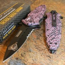 TAC FORCE Spring Assisted Purple COBRA SNAKE SKIN DAGGER Tactical Rescue Knife
