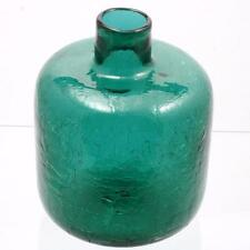 Emerald Green Crackle Glass Vase Blenko Mid Century Modern Vintage