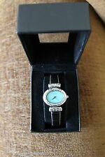 ECCLISSI CROC STERLING SILVER GENUINE TURQUOISE LEATHER BAND LADIES WATCH! NIB!