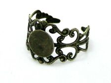 2 Pcs Antique Bronze Filigree Ring Blanks Adjustable Size 10mm Pad - F73
