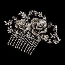 Antique Silver Clear Swarovski Crystal Bead & Rhinestone Comb #3756