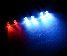 2 X Rosso Bianco 4x R / C Buggy Auto Camion Led Luce 3mm KIT LED SWITCH + PP3 clip