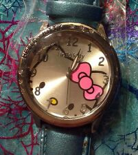 "NEW ""Hello Kitty"" Quartz Wristwatch/Faux Leather Band ""BLUE"" w/ FREE Gift Bag"