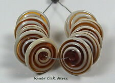 ROA Lampwork 10 Ivory & Amber Swirl 3 x14 mm USA Disc Artisian Glass Beads SRA