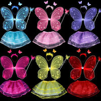 4Pc Set Fairy Princess Butterfly Party Costume Wings Wand Headband Tutu Skirt