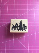 Pine Trees And House Rubber Stamp By Just For Fun
