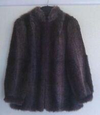 Ladies simulated fur jacket - size 14 brown