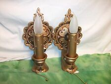 ( 2 )  RARE  Antique  Wall Sconces with Working Plug ins Hand Painted.