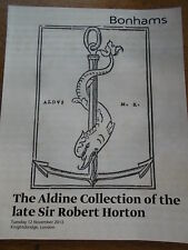THE ALDINE COLLECTION SIR ROBERT HORTON BONHAMS Antiques AUCTION CATALOGUE MINT