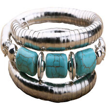 Antique Tibet Turquoise Beads Inlay Silver Plated Chain Bangle Cuff Bracelet