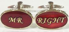 NOVELTY MR RIGHT GROOM FIANCEE RED WEDDING MENS DRESS CUFF LINKS CUFFLINKS #1073