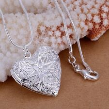 "925 Sterling Silver Women's 18"" Snake Necklace And Heart Pendant-Locket D196"