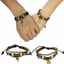 Couples Bracelet Leather Heart Lock and Key Christmas Gift Free Shipping CP-368