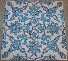 "Set of 12 Light Blue 8""x8"" Raised Turkish Ottoman Iznik Floral Ceramic Tile"