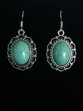 Earrings Vintage Oval Silver Turquoise Hippie Ethnic Bohemian