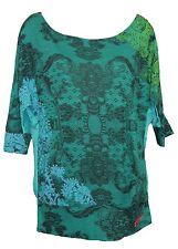 Desigual Gloria Verde 3 \ 4 manica collo a barca T-shirt taglia XL