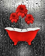 Daisy Flowers Raindrops Red Bathroom Wall Art Red Picture Home Decor Picture