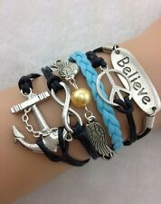 NEW Infinity Believe Peace Anchor Wing Leather Charm Bracelet plated Silver C2Y