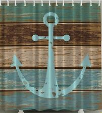 Nautical Rustic Anchor Wood Fabric SHOWER CURTAIN Aqua Old Plank Boat Ship Ocean