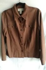 Norton McNaughton Stretch Jacket Size 12 Brown Faux Suede Career Jacket Bust 43""