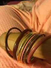 Hippie Chick Layered Bangle Lot 7 Lucite Enamel Peach Bangle Bracelets 2.5""