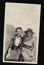 Antique Photograph Two Women Wearing Cool Outfits Outside in Backyard