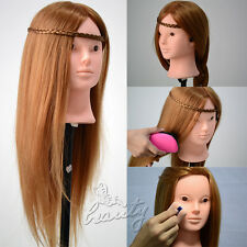 80% Real Human Hair Training Head Hairdressing Mannequin Makeup Head + Clamp