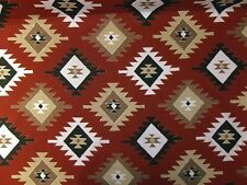 MARSON GRAND NORD PRINTED AZTEC KILIM  NATURAL RED CURTAIN UPHOLSTERY FABRIC