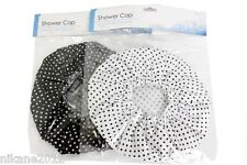 shower caps ladies/mens/gents/boys/girls poka dot black and white new bath cap