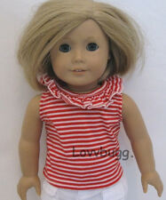 """Red Stripes Top Shirt Clothes for 18"""" American Girl & Baby Doll Best Selection!"""