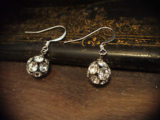 Vintage Round Ball Clear Crystal Drop Pierced Earrings