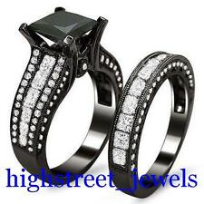 AAA Jet Black Diamond Ring 3.34 Ct Princess Diamond Bridal Set (SSWP) $#