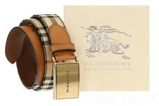 NEW BURBERRY HORSEFERRY CHECK LOGO BROWN LEATHER BUCKLE BELT 105/42