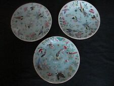 3 CHINESE 19 TH CENTURY CELADON 19.5 Cm PLATES DECORATED WITH BIRDS ,BUTTERFLYS