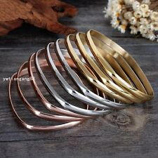 9pcs Tri-Color Gold Silver Rose Gold Stainless Steel Women's Bracelet Bangle Set