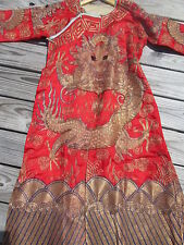 VINTAGE / OLD CHINESE DRAGON EMBROIDERED ROBE W/METAL THREAD_FINE CONDITION
