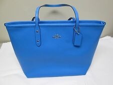 NWT Authentic Coach Crossgrain Leather City Zip Tote F36875 Azure Blue NEW