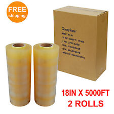 2 Rolls Premium Food Meat Wrapping Film - Clear 11Mic - 18 in. x 5000 ft.