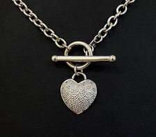 9Ct Hollow White Gold 4mm Round Belcher w/T-Bar & Diamond (0.10ct) Heart Pendant