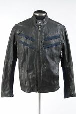 NEW Men's True Religion Jet Black Leather Racer Jacket Bomber Motorcycle size S